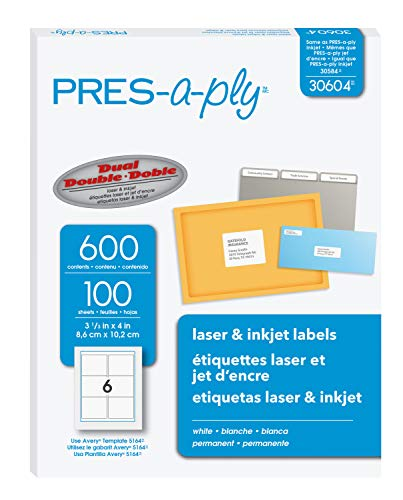 PRESaply 31/3 x 4 Inches Laser Labels White 600 Count 30604