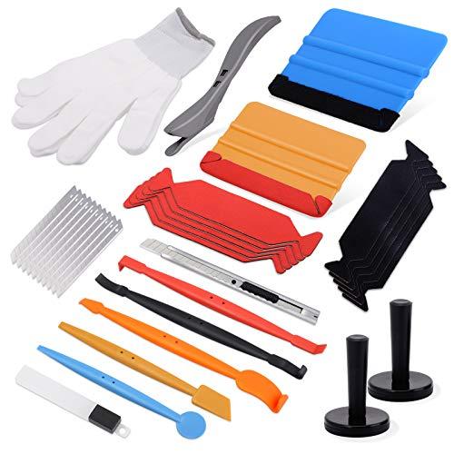Ehdis Folierungs Werkzeug Fenster Tönung Vinyl Wrap Werkzeuge mit 5 Wickelstäbchen, Filzrakel, Magnetfolienhalter, Schneideplotter, Messer und Klingen, Handschuhe