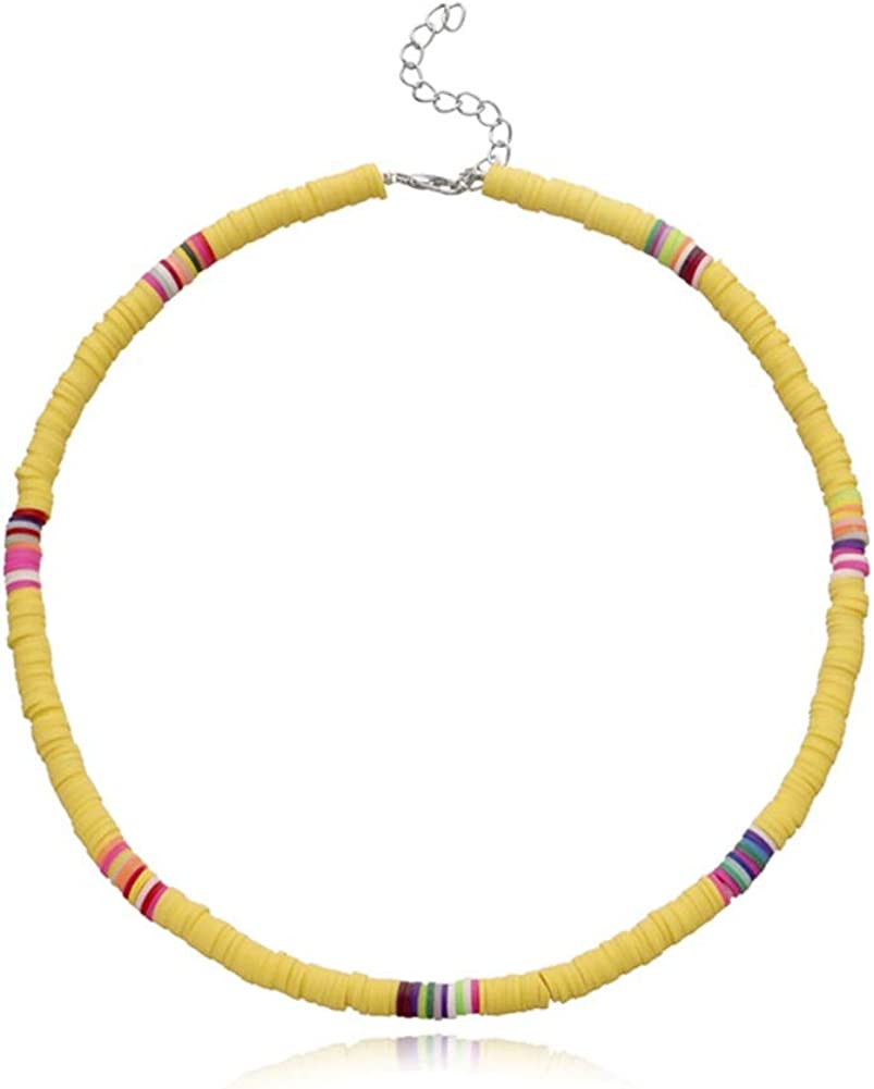 Surfer Choker Necklace Boho Jewelry Colorful African Vinyl Disc Beads Necklaces for Women Girls Handmade Summer Beach Collar Necklace for Holidays