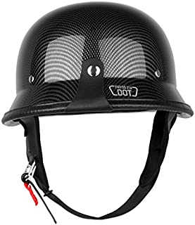 Ambienceo Gloss Black DOT Approved Carbon Fiber German Style Half Face Motorcycle Helmet for Curiser Touring Scooter Biker (Large)