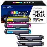 GPC Image TN241 TN245 TN-241 TN-245 Compatible Cartuchos de tóner Reemplazo para Brother HL3140CW, HL 3150CDW, MFC 9140CDN, MFC 9330CDW, MFC 9340CDW Impresora (2 Negro,1 Cian,1 Magenta,1 Amarillo)