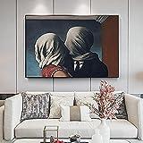 XIAOMA Cuadro sobre lienzo Surrealismo Rene Magritte The Lover Poster e Impresiones Arte Moderno Cuadro de pared Imagen Dormitorio Salón Decoración sin marco (30 x 40 cm)