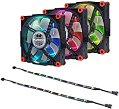 InWin Aurora Fan Kit Black/Red 3 RGB LED 120mm Fan Two LED Strips High Performance Silent Cooling Computer Case Fan with Anti-Vibration Mounting Cooling Black/Red Black