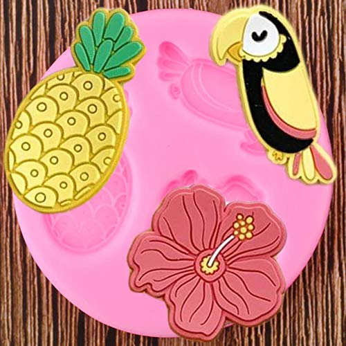 GEYKY Birds Silicone Molds Flower Pineapple Topper Mould Cake Decorating Tools Chocolate Candy Clay Moulds