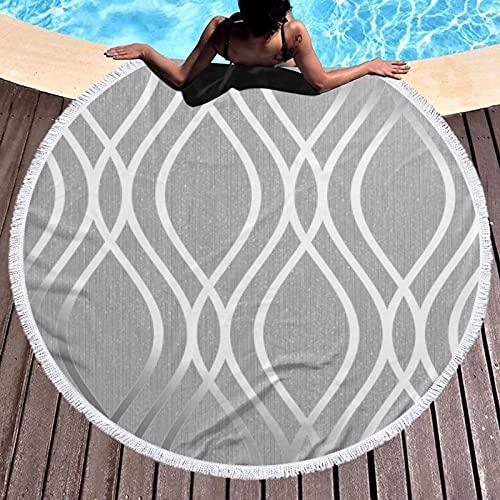 Figura geométrica de plata impresa toalla de playa redonda Yoga Picnic Mat mantel redondo ultra suave Super absorbente de agua toalla de rizo con borlas