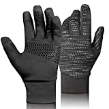 Winter Gloves Touch Screen Cycling Gloves Black Bicycle Gloves Anti Slip Full Finger Riding Sports Bicycling Gloves (Updated-Black, S)