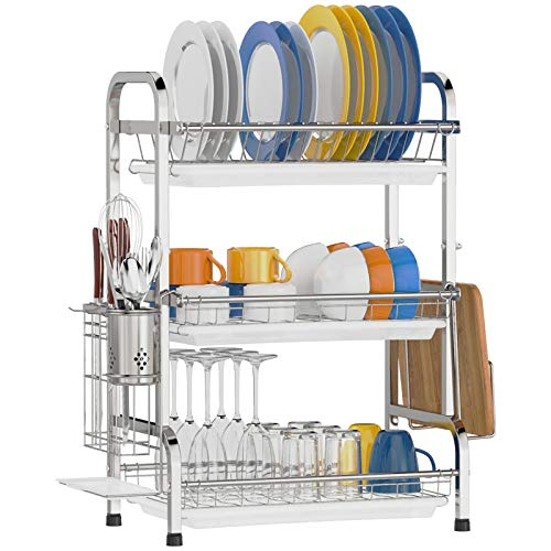 Dish Drying Rack, Cambond 201 Stainless Steel 3 Tier Dish...