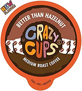 Crazy Cups Flavored Coffee for Keurig K-Cup Machines, Better Than Hazelnut, Hot or Iced Drinks, 22 Single Serve, Recyclable Pods