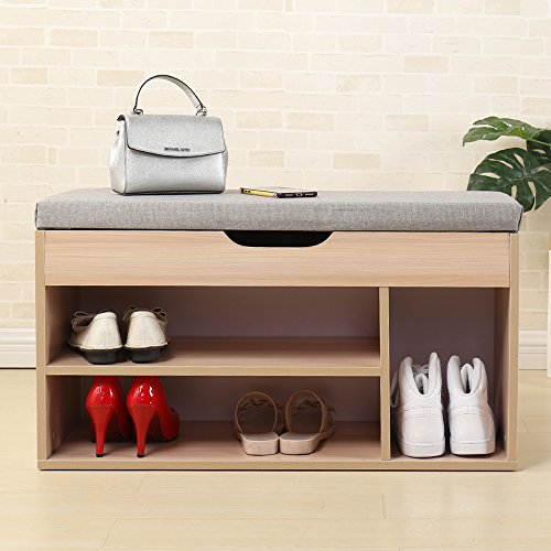 sogesfurniture Schuhregal mit Sitzfläche und Stauraum, 3 Fächer Schuhbank Schuhschrank Flur Diele Schuhregal Schuhablage mit Sitzkissen in Grau, 80x30x45cm, BH-M018-SF
