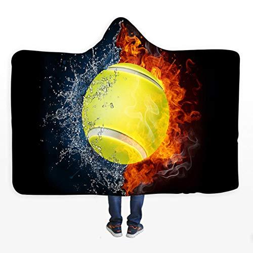 PANDAWDD Decken Kuscheldecke Wohndecke Brennender Tennissport Tv-Decke Mit Kapuze Für Erwachsene Männer 3D Lustig Tragbare Decke Fleecedecke Kuscheldecke 150X200 cm