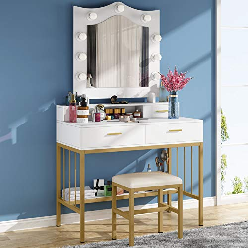Tribesigns Vanity Table Set with Lighted Mirror and Cushioned Stool, Makeup Dressing Table with Double Drawers and Storage Shelf for Girl Women, Modern Makeup Vanity Desk for Bedroom, Gold & White
