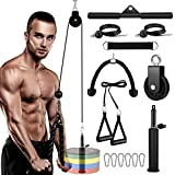 Fitness LAT and Lift Pulley System Gym, Upgraded LAT Pull Down Pulley Cable Machine System with Dual...