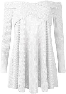 Women Fashion Casual Long Sleeve Pullover Off Shoulder Shirt Asymmetrical Hem Tunic Tops Sweaters