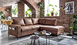 Bobochic - Lilly L - Canapé d'angle L - 5 Places - Convertible - Industriel Vintage - Angle Droit
