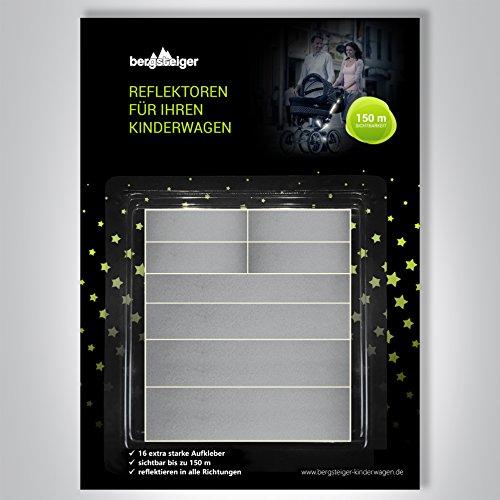 Bergsteiger Kinderwagen Reflektoren, 16-teiliges Sticker Set auch für Fahrrad, Bollerwagen, Lauflernrad oder...