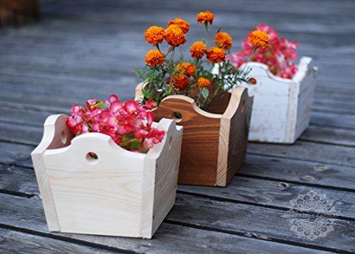 '3 x main bois magnifique fleurs töpf Jardinière – \