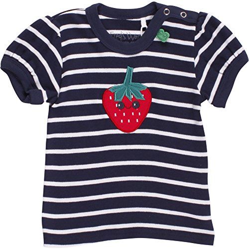 Fred'S World By Green Cotton Strawberry Stripe T Baby T-Shirt, Bleu (Navy 019392001), 6 Mois Bébé Fille