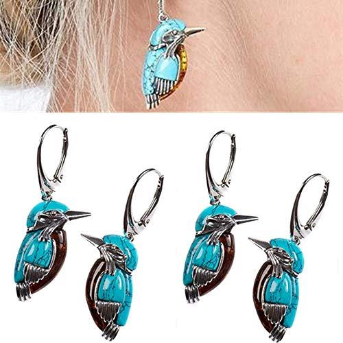Zller2587 Pendientes Bluebird, Pendientes De Color Turquesa En Estilo Vintage con Gran DecoracióN De Esmalte, Adecuados para Mujer (2Pairs)