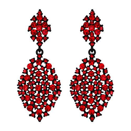 EVER FAITH Mujer Cristal Austríaco Fiesta Ahuecado Lágrima Perforado Colgante Pendientes Rojo Tono Negro