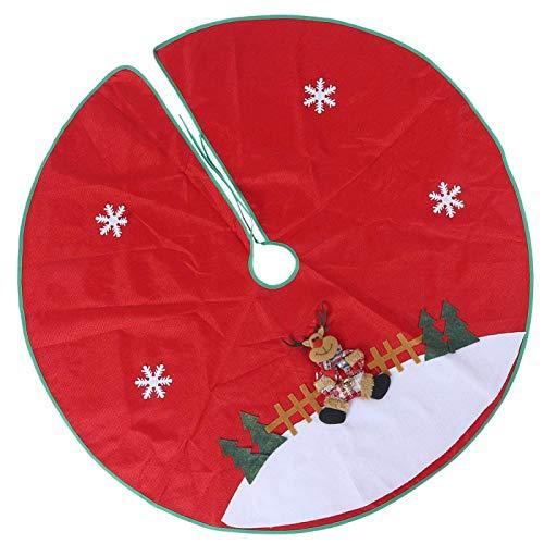 BWLZSP Red Flannelette Christmas Tree Skirt Base Floor Mat Apron Cover Christmas Party Home Decorations, Christmas Tree Mat Christmas Tree Cover(Deer)