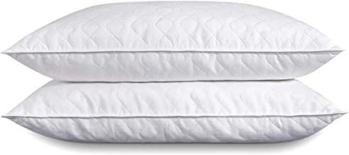 puredown Goose Feather Pillow for Sleeping Quilted Pillows, Set of 2, White, Standard/Queen Size Polyster Cover