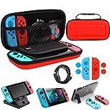 Whasoo Estuche para Nintendo Switch, 10 en 1 Switch Storage Estuche Incluye Cable Tipo C, Protector de Pantalla, Fundas Joy con, Soporte para Ranura para Tarjeta de Juego (Red)