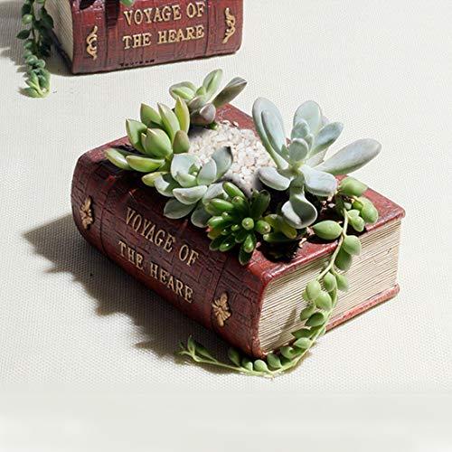 JINYANG Horticultural Supplies Retro Literature Book Pots Vintage Book Maceta Maceta para...
