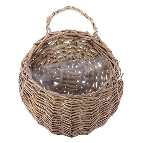 TUANTUAN 2 cestas de flores de mimbre, hechas a mano, de mimbre, de ratán, hechas a mano, para colgar en la pared, ideal para colgar en la pared, color gris
