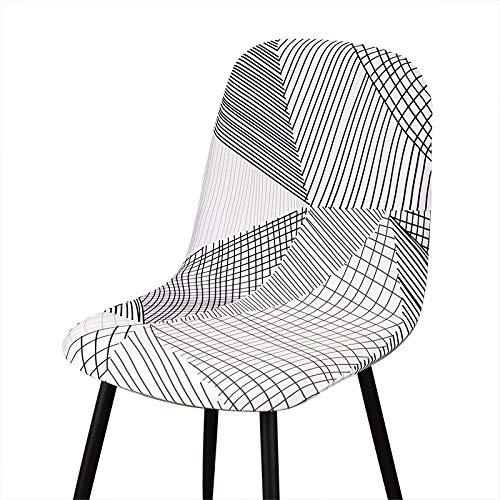 Qier Stuhlhussen Stretch Shell Chair Schonbezug, Leaves Printed Seat Dekor, Hotelbüro Bar Stuhl Protector Covers, Pink, 6 Pcs