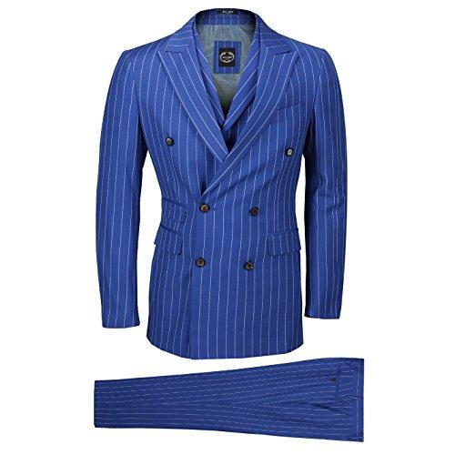 Xposed 3 Pezzi Doppio Petto Men Ampia Chalk Pin Stripe Completo da Uomoroyal Blu Classico Retro vestibilità su Misura [SUIT-CHARLES-8A2810-5-48UK]