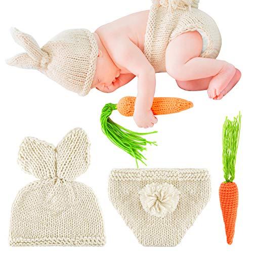 FEPITO Disfraz de conejito de Pascua Accesorios de fotografía para recién nacidos Trajes de punto de ganchillo (0-3 Moth)