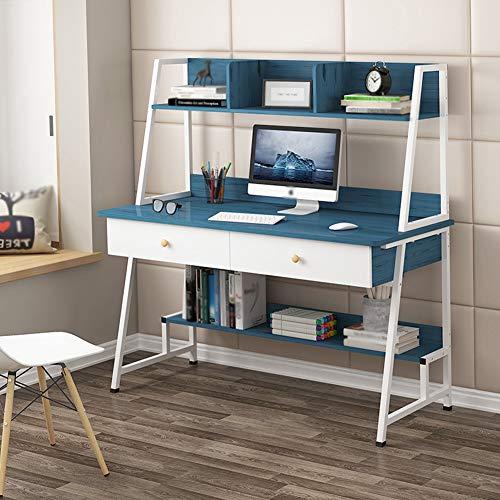 Mesa De Ordenador, Mesa De Estudio para Oficina, Muebles De Oficina De Escritorio Simple, para Escritorio De Estudio PequeñO para Oficina En Casa,Azul,39.37 Inches
