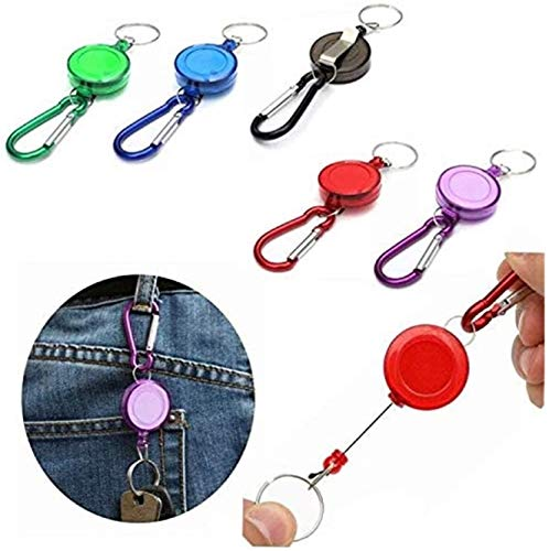 Einziehbarer Schlüsselanhänger (5 Stück) – ausziehbarer Schlüsselanhänger, strapazierfähig, einziehbarer Karabiner-Schlüsselanhänger