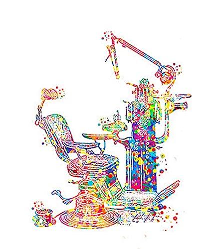 DIY Diamond Painting Kits Cartoon Tooth Machine Dentist Round Full Drill Beads Embroidery Cross Stitch Mosaic Art Home Wall Decoration(30x40CM)