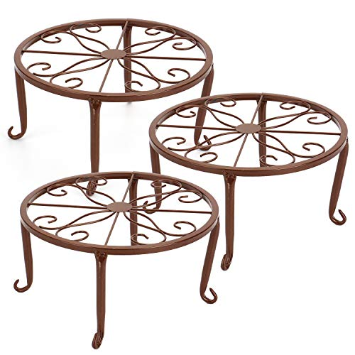 Tosnail 3 Pack Metal Potted Plant Stands Plant Holder (Brown)