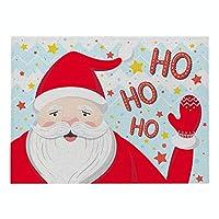 ランチョンマット 綿 麻 4枚セット クリスマスシリーズ プレースマット サンタクロース ランチマット 布 華やか卓上飾り 高温耐性滑り止め防しわ 西洋料理マット コーヒーマット家庭 レストラン 用 贈り,21X32cm