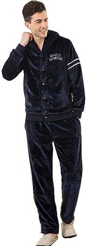 Battercake Pyjamas Homme Manches Longues Warm épaissir Set De Pyjama Hiver Doux Mode Confortables Laineux Homewear Décontracté Dame Chemise De Nuit VêteHommest De Nuit