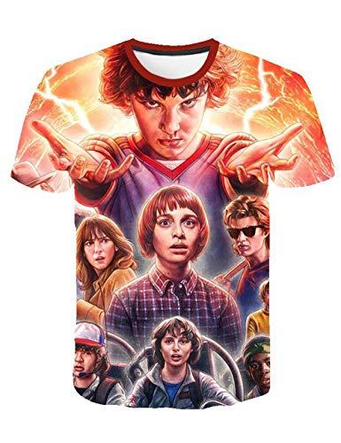 Camiseta Stranger Things Niño, Camiseta Stranger Things Niña Unisex Impresión 3D Manga Corta T Shirt Hombre Abecedario Impresión T-Shirt Mujer Camisa de Verano Regalo Camisetas y Tops (8,S)