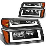 4Pcs Black Housing Amber Coner LED DRL Headlight + Bumper Lamps Replacement for Chevy Colorado GMC Canyon 04-12