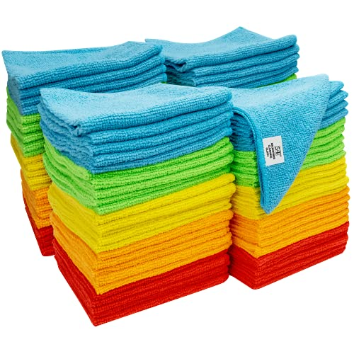 S&T INC. 923801 Microfiber Cleaning Cloths, Reusable and Lint-Free Towels for Home, Kitchen and Auto, 100 Pack, Assorted