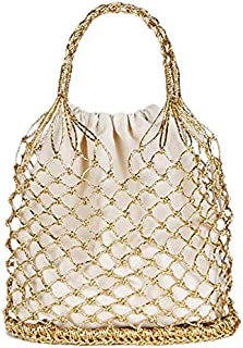 TOOGOO Bright Paper Ropes Hollow Woven Bag Straw Bag Female Reticulate Handbag Netted Beach Bag(Silver)