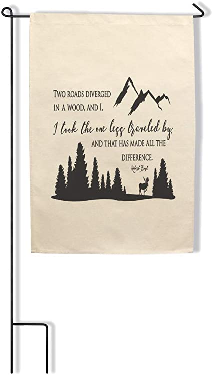 Home Decor Garden Flag 2 Roads Diverged In A Wood Took Less Traveled Robert Frost Cotton Canvas Outdoor Patio Decor Flag Only Design Only Garden Outdoor