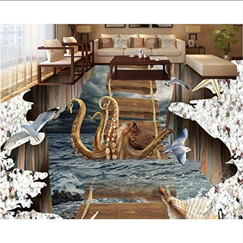 Groß 3D Bodenbelag Anpassen Pvc Wasserdicht-Tapete-Für-Bad Küche Vinyl Tapete Vinyl Bodenbelag Badezimmer-280X200CM