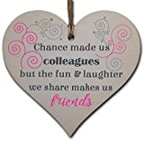 Handmade Wooden Hanging Heart Plaque Gift for Colleague Keepsake for Friend