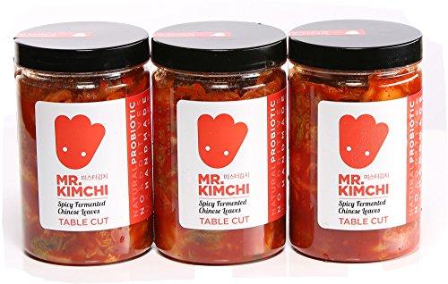 3 X 330g Freshly UK- Made Kimchi Based on Authentic Korean Recipe (Natural Fermentation, Natural Probiotics, No Artificial Additives)