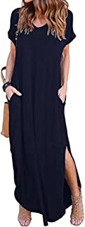 Women's Casual Loose Pocket Long Dress Short Sleeve Split Maxi Dresses Dark Blue