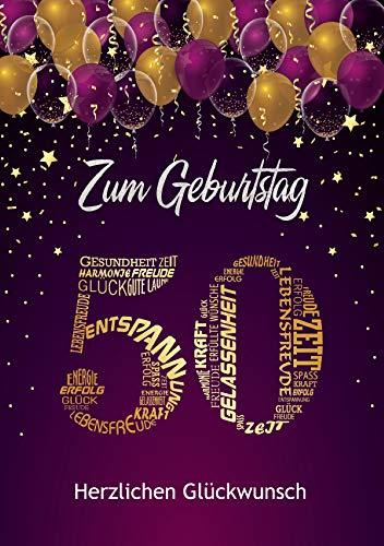 Liebevolle Glückwunschkarte zum 50. Geburtstag Geburtstagskarte A5 mit Nummer und Glückwünschen Pink Lila (50. Geburtstag)