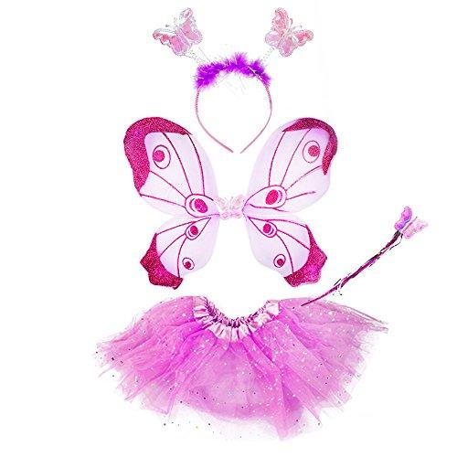 com-four® alas de mariposa, cada una con falda a juego, diadema y varita mágica