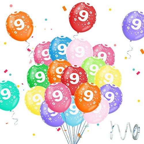 Globos 9 Años Cumpleaños, Globos 9 Años, Globo Cumpleaños 9 Años Niño, Globo Numero 9, Globos Colores Surtidos, Decoración Cumpleaños 9 Años para Niños y Niñas, Ideal para Fiesta de Cumpleaños