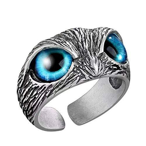 Anillo de plata de ley 925 con diseño de búho de ojo de demonio, con diseño de búho, regalo para mujeres y hombres